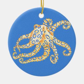 Ornamento De Cerâmica Vitral azul do polvo