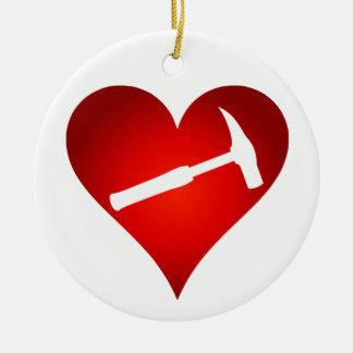 Ornamento De Cerâmica Você balança meu mundo: Coração do martelo da