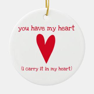Ornamento De Cerâmica Você tem meu poema do coração | por E.E. Cummings