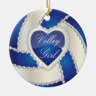 Ornamento De Cerâmica Voleibol azul escuro do coração elegante do