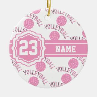 Ornamento De Cerâmica Voleibol cor-de-rosa e branco