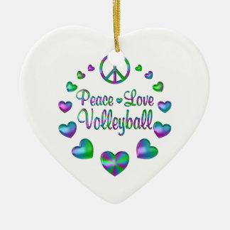 Ornamento De Cerâmica Voleibol do amor da paz