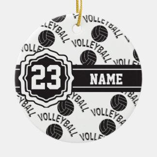 Ornamento De Cerâmica Voleibol preto e branco