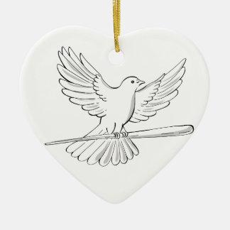 Ornamento De Cerâmica Vôo do pombo ou da pomba com desenho do bastão
