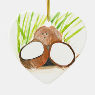 Ornamento De Cerâmica Watercolour das frutas dos cocos