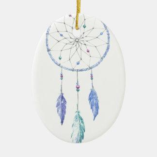 Ornamento De Cerâmica Watercolour Dreamcatcher com 3 penas