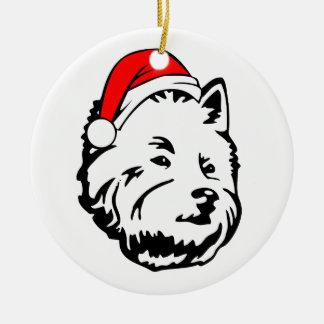 Ornamento De Cerâmica West_Highland_Terrier_Dog com o chapéu do papai
