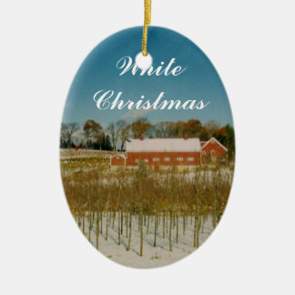 Ornamento De Cerâmica White Christmas em Nova Inglaterra