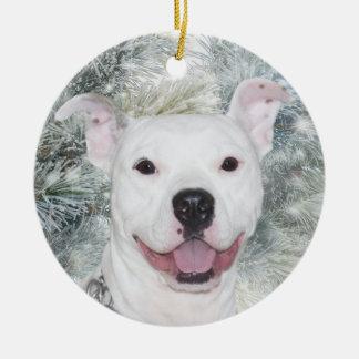 Ornamento De Cerâmica White Christmas Pitbull
