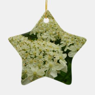 Ornamento De Cerâmica Wildflower do branco do laço da rainha Anne