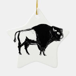 Ornamento De Cerâmica Woodcut americano do lado do búfalo preto e branco