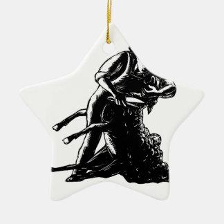 Ornamento De Cerâmica Woodcut de corte dos carneiros do tosquiador