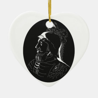 Ornamento De Cerâmica Woodcut de Vasco Nún ez de Balboa Conquistador