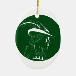 Ornamento De Cerâmica Woodcut lateral do círculo do perfil de Robin Hood
