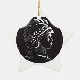 Ornamento De Cerâmica Woodcut lateral principal do Oval do perfil de