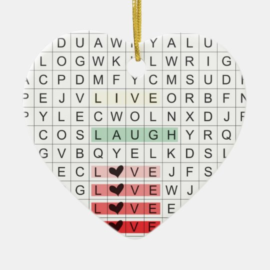 Ornamento De Cerâmica Word Search Love