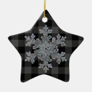 Ornamento De Cerâmica Xadrez cinzenta e preta do país - floco de neve