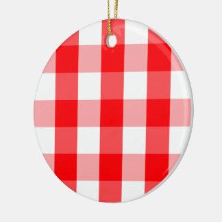 Ornamento De Cerâmica Xadrez vermelha e branca do grande Natal do