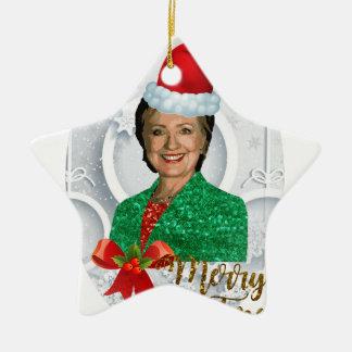 Ornamento De Cerâmica xmas Hillary clinton da feliz