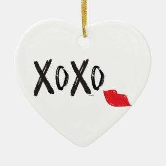 Ornamento De Cerâmica XoXo-Abraço-Beijo-com-Vermelho-Lábios