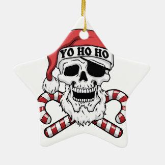 Ornamento De Cerâmica Yo ho ho - papai noel do pirata - Papai Noel