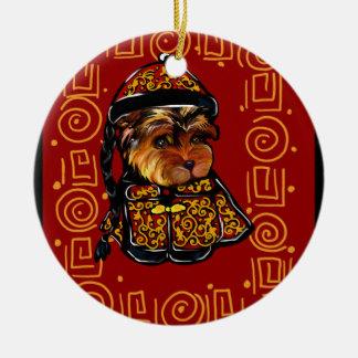 Ornamento De Cerâmica Yorkie Poo - ano do cão