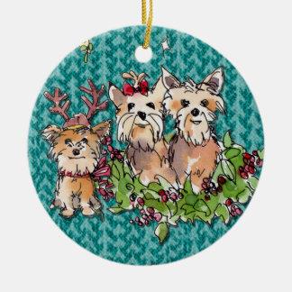 Ornamento De Cerâmica Yorkies no Natal