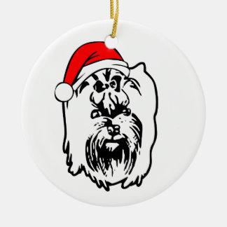 Ornamento De Cerâmica Yorkshire_Terrier_Dog com o chapéu do papai noel