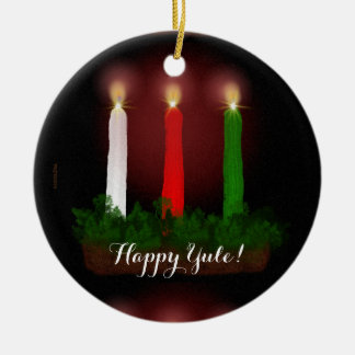 Ornamento De Cerâmica Yule Candles a foto do solstício de inverno pronta