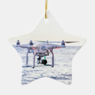 Ornamento De Cerâmica Zangão do vôo na costa acima do mar