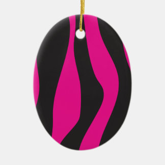 Ornamento De Cerâmica Zebra cor-de-rosa