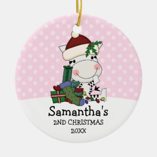 Ornamento De Cerâmica Zebra do papai noel do Natal da menina ?a