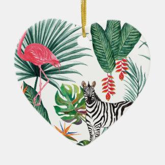 Ornamento De Cerâmica Zebra e flamingo tropicais da cópia da aguarela