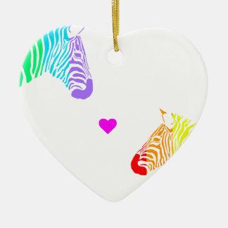 Ornamento De Cerâmica Zebras do arco-íris