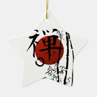 Ornamento De Cerâmica Zen do Kanji com Enso e bambu