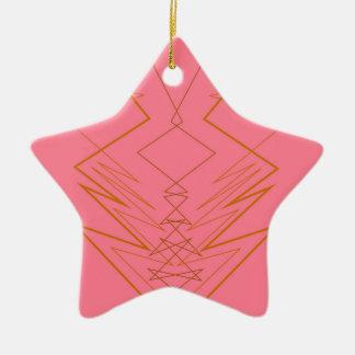 Ornamento De Cerâmica Ziguezague cor-de-rosa do ouro dos elementos do