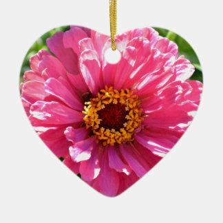 Ornamento De Cerâmica Zinnia cor-de-rosa