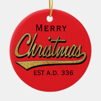 """ Ornamento de /Circle do Feliz Natal retro"" do"