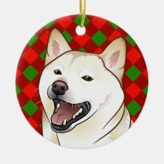Ornamento de creme de Shiba Inu do Feliz Natal