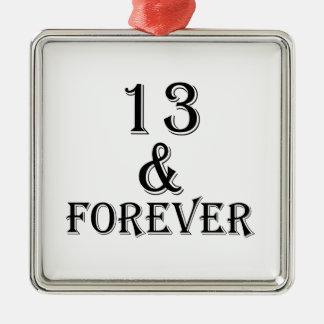 Ornamento De Metal 13 e para sempre design do aniversário