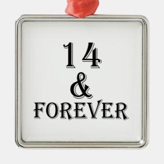 Ornamento De Metal 14 e para sempre design do aniversário