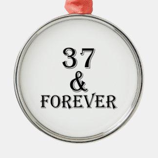Ornamento De Metal 37 e para sempre design do aniversário