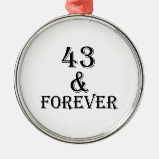 Ornamento De Metal 43 e para sempre design do aniversário