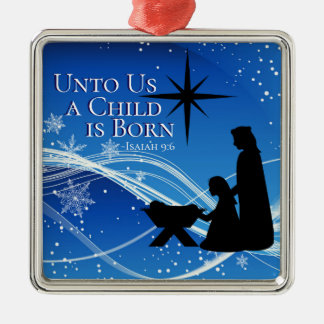 """Ornamento De Metal 9:6 de Isaiah """"uma criança é"""" natividade nascida"""