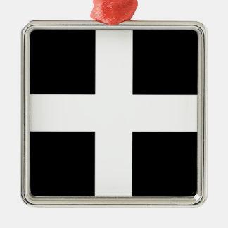 Ornamento De Metal A bandeira de Piran Cornish do santo - bandeira de