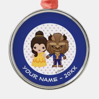 Ornamento De Metal A beleza e o animal Emoji adicionam seu nome
