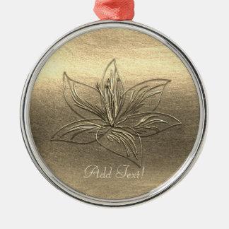 Ornamento De Metal A flor bonito do lírio do ouro floral adiciona o