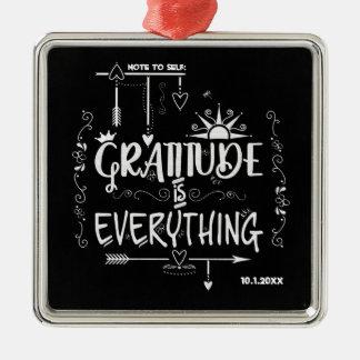 Ornamento De Metal A gratitude é tudo nota ao quadro do auto