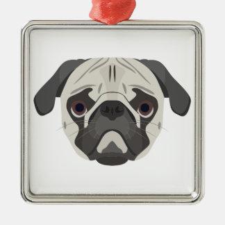 Ornamento De Metal A ilustração persegue o Pug da cara
