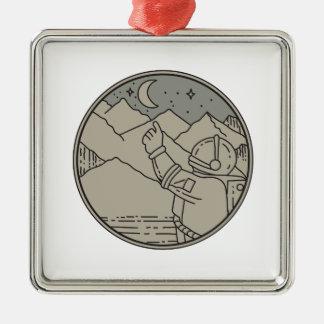 Ornamento De Metal A lua do astronauta Stars a mono linha do círculo